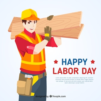 Labor day background with builder