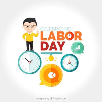 Labor day background with nice character