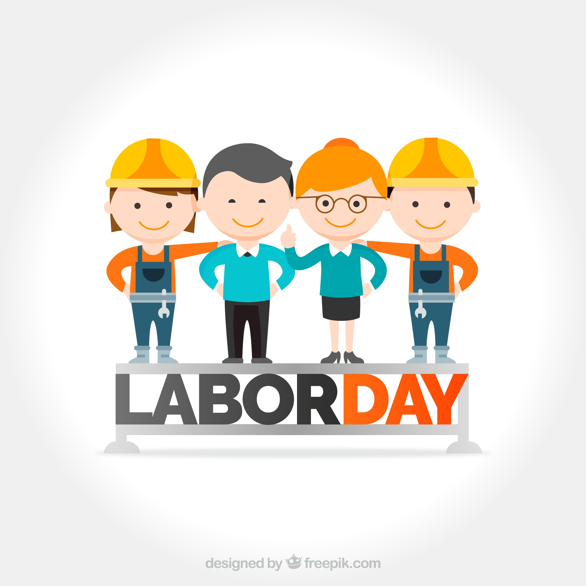 Labor day background with nice workers