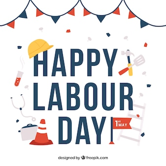 Labor day background with working elements