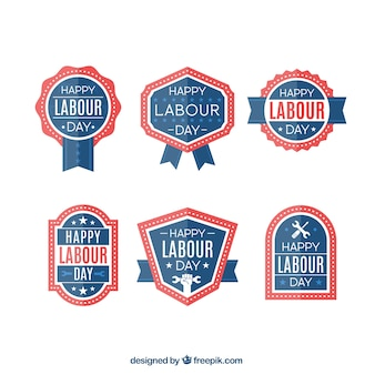Labor day badges in blue and red