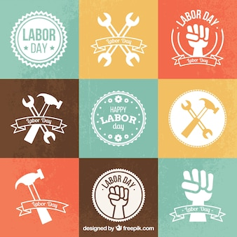 Labor day badges in flat design
