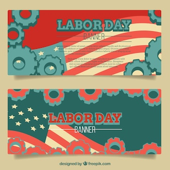 Labor day banners in retro style