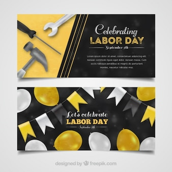 Labor day banners with balloons and tools