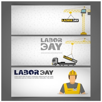 Labor day banners with cranes and worker
