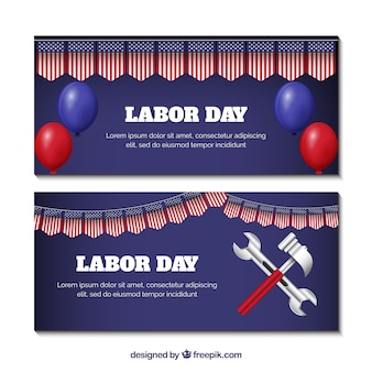 Labor day banners with tools and balloons