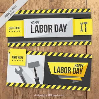 Labor day banners with wrench and hammer