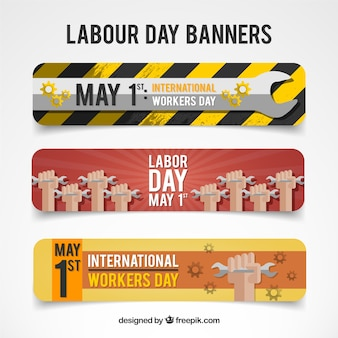 Labor day banners with wrench design