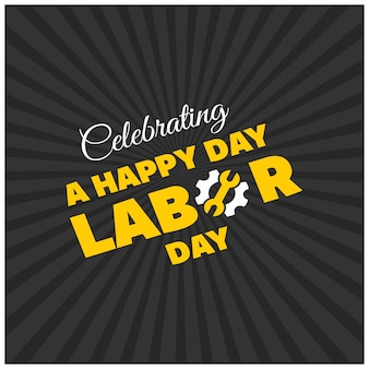 Labor day design on black starburst background