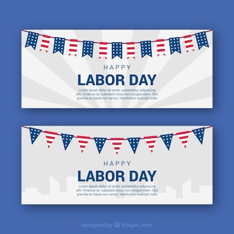 Labor day's banners with flags