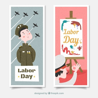 Labor day's banners with soldier and painter in flat design