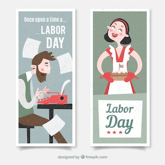Labor day's banners with writer and housewife with flat design