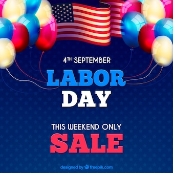 Labor day sales background with american celebration elements