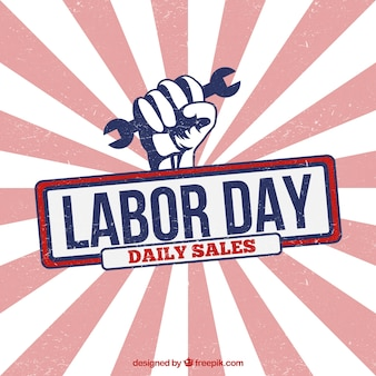Labor day sales poster in sunburst style