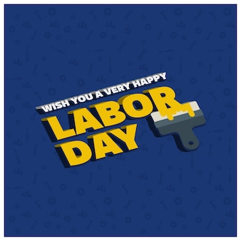 青い柄の背景にペイントブラシで幸せ労働日クリエイティブタイポグラフィー