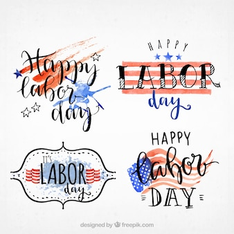 Labor day watercolor stickers set
