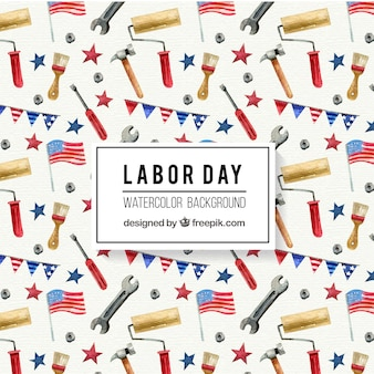 Labor day watercolor tools background in usa