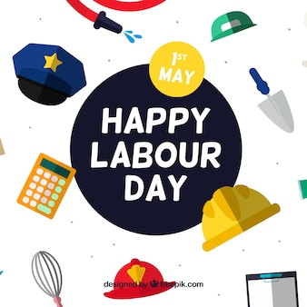 Labour day background with decorative objects in flat design