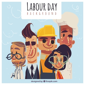 Labour day background with hand-drawn people