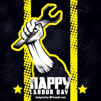 黄色の詳細と労働日の背景