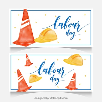 Labour day banners with objects in watercolor style