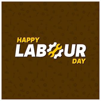 幸せな労働者の日クリエイティブタイポグラフィーは、茶色のpatterened背景