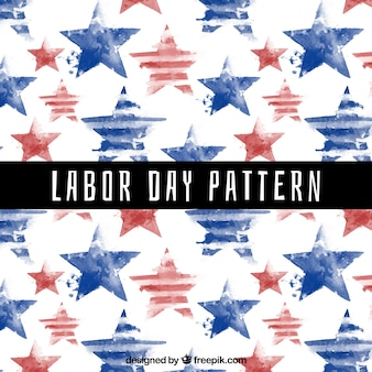 Labour day watercolor stars pattern
