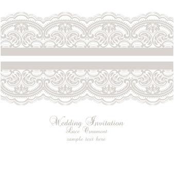 Lace ornament wedding invitation template