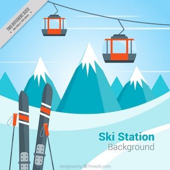 Landscape background and ski resort in flat design