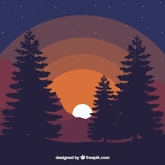 Landscape background at dusk