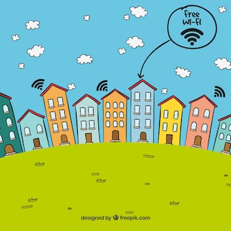 Landscape background of houses with free wifi