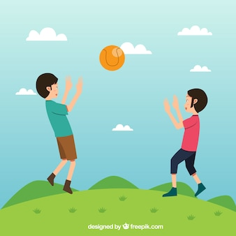 Landscape background with children playing ball