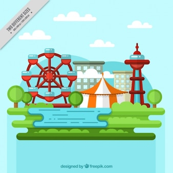 Landscape background with fairground attractions