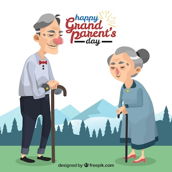 Landscape background with grandparents