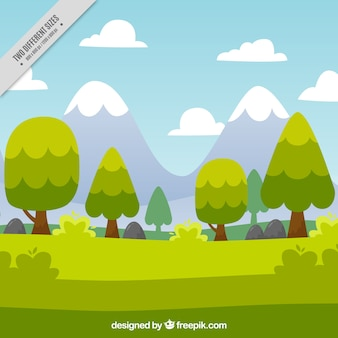 Landscape background with green trees and mountains
