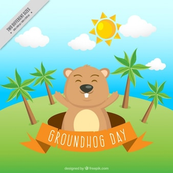 Landscape background with happy groundhog