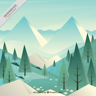 Landscape background with pines between mountains