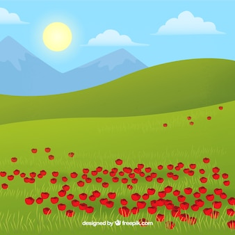 Landscape background with poppies
