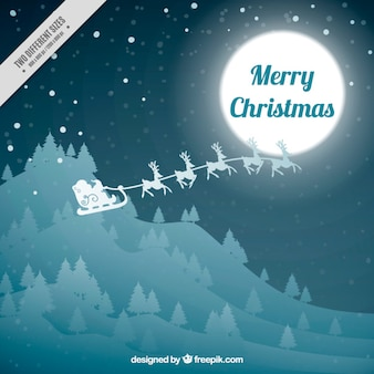 Landscape background with santa claus