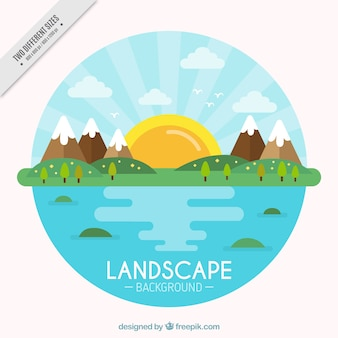 Landscape background with sea and mountains in flat design