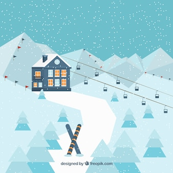 Landscape background with ski resort