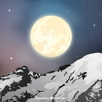 Landscape background with snowy mountain and moon