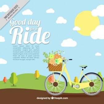Landscape background with vintage bicycle