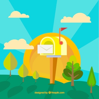 Landscape background with yellow mailbox in flat design