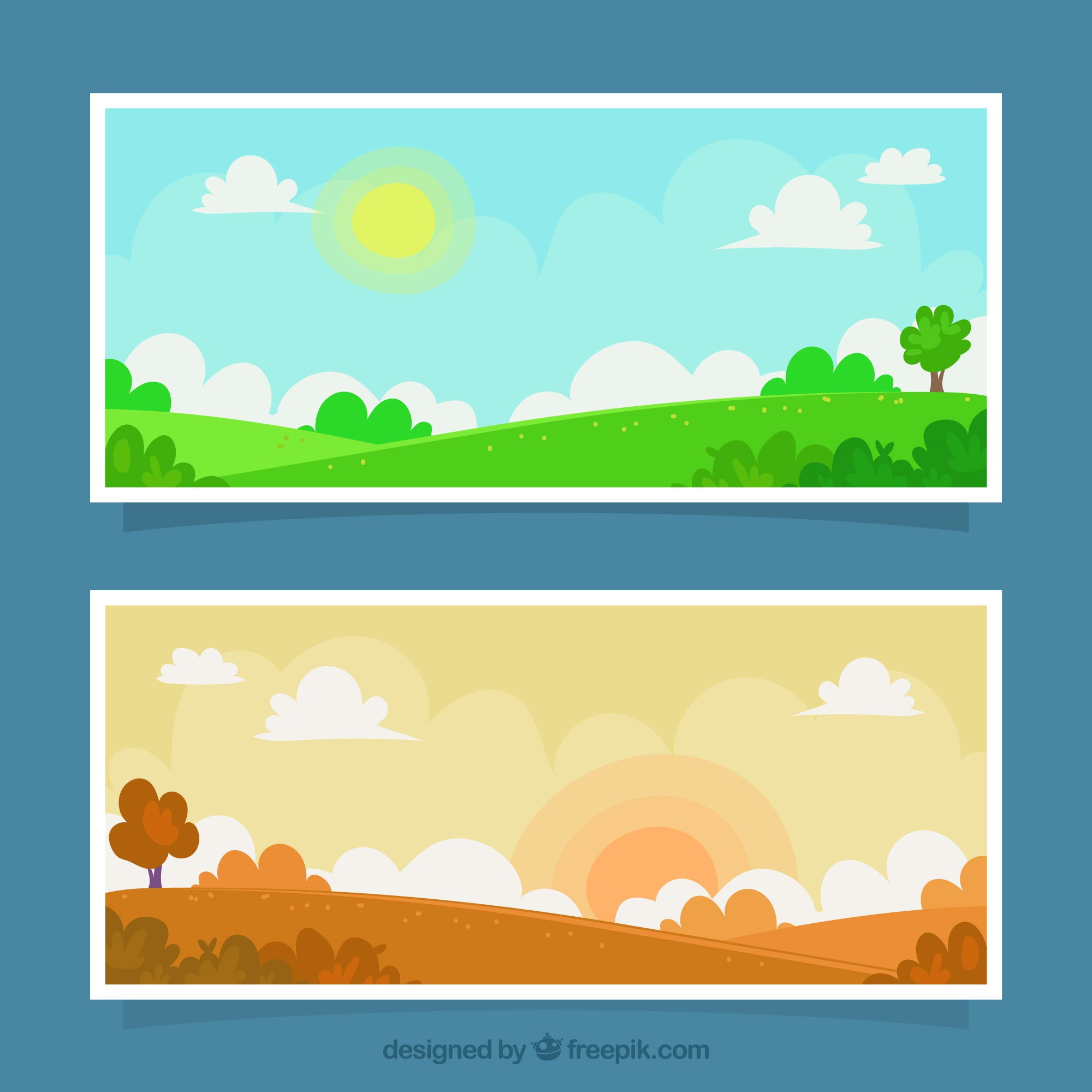 Landscape banners at different times of the day
