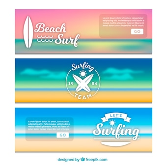 Landscape banners of surf