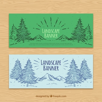 Landscape banners with hand drawn pines