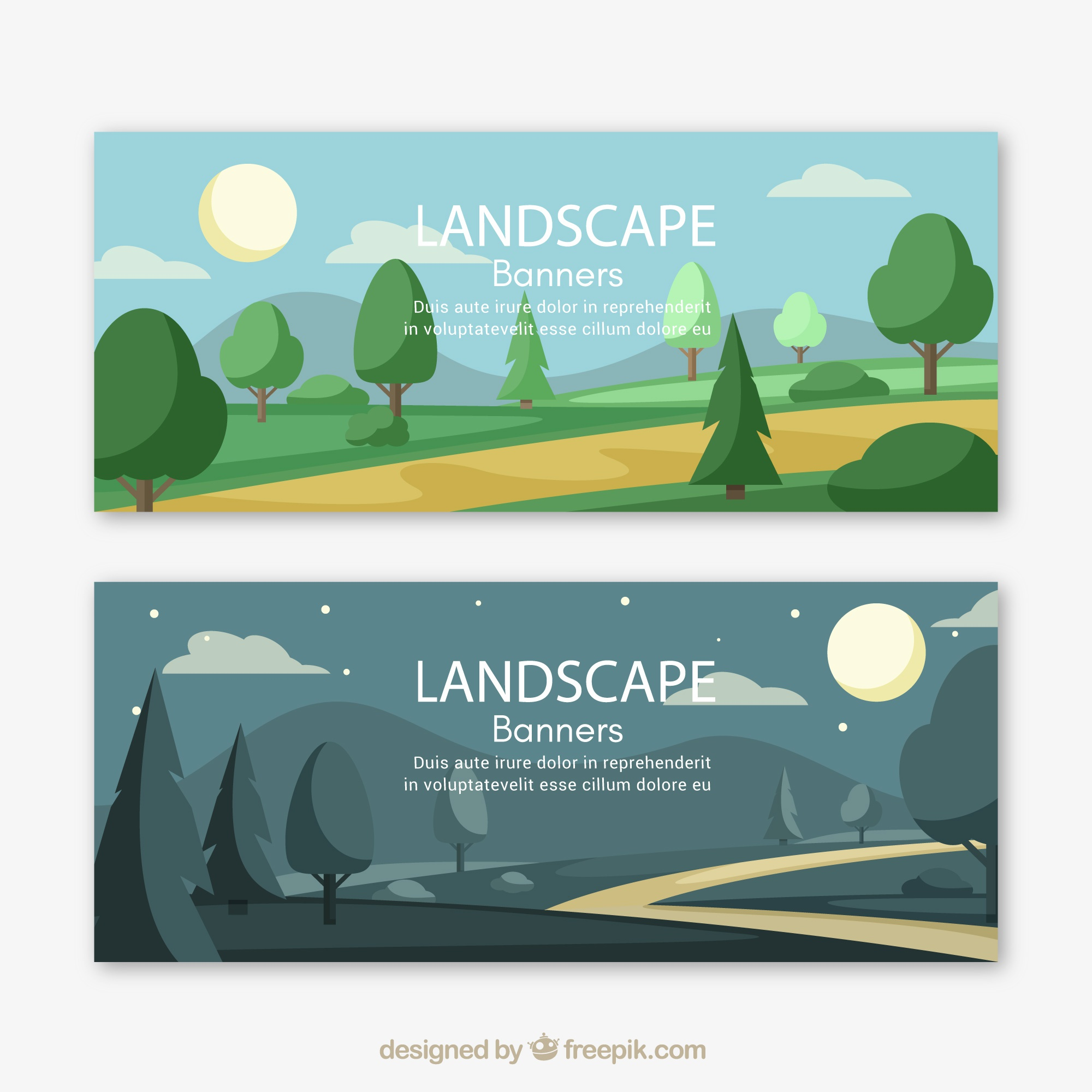 Landscape banners with trees and path