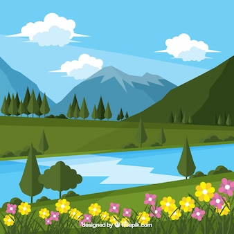 Landscape flower background and river with mountains