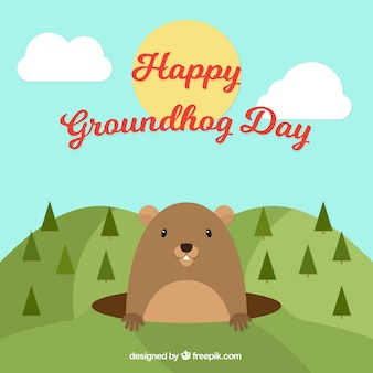 Landscape groundhog day background with pines